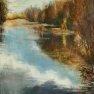 Reflets sur l'étang de Corbet [Huile sur toile - 90 x 60]