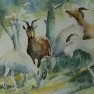 Les chèvres [Aquarelle - 35 x 45]