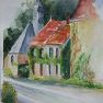 Le clocher d'Armenonville [Aquarelle - 40 x 30]