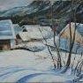 Chalets sous la neige (Vallée de Nevache) [Huile sur toile - 40 x 50]