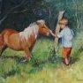 A la rencontre du poney [Huile - 50 x 61]