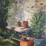 Mise en pots au jardin [Huile - 46 x 38]